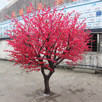 玫红仿真桃花树
