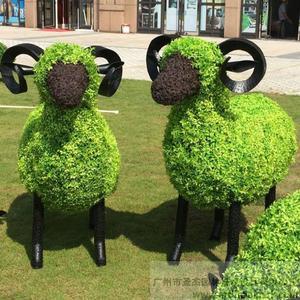 仿真绿雕动物图片_小羊