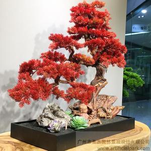 红色仿真松树盆景